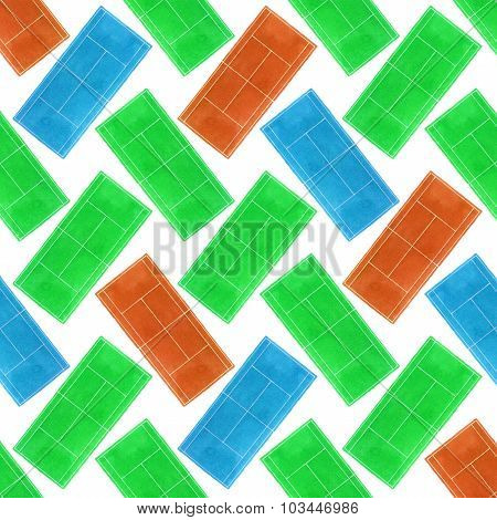 Tennis court. Seamless pattern with hand-drawn grass, blue and clay surface tennis courts on the whi