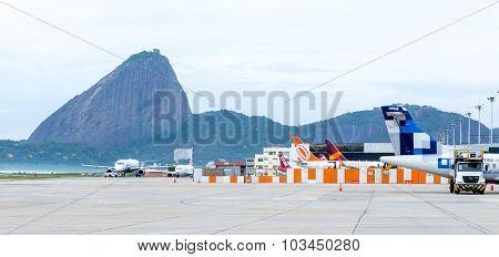 RIO DE JANEIRO - CIRCA NOV 2014: Airplanes in Santos Dumont Airport in Rio de Janeiro, Brazil.