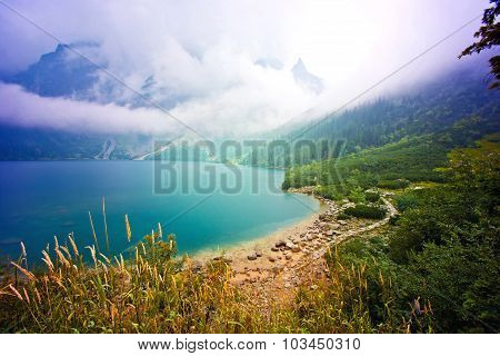 Nature In Mountains. Lake In Mountains.