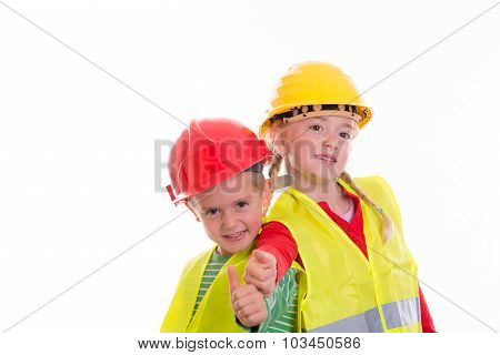 Boy And Girl With Reflective Vest And Helmet