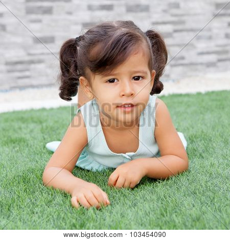 Funny little girl with pigtails lying on the grass poster