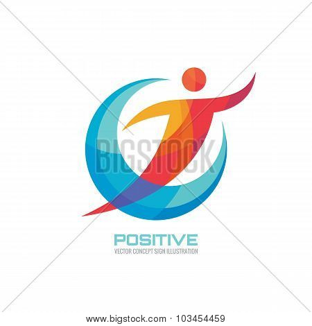 Human in colored rings - creative logo sign for sport club, health center, music festival etc.