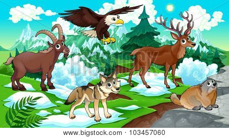 Cartoon animals, deer, eagle, groundhog, wolf with landscape. Vector cartoon illustration.