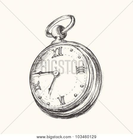 Hand drawn vintage watch clock sketch vector illustration