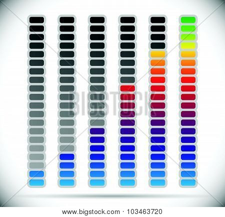 Color coded progress level indicator with units. poster