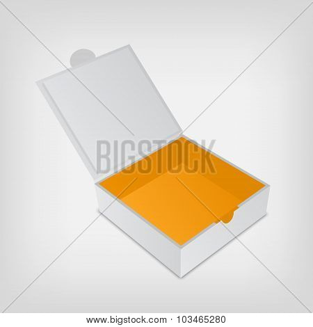 Open packaging box mockup. Gray square and orange inside.
