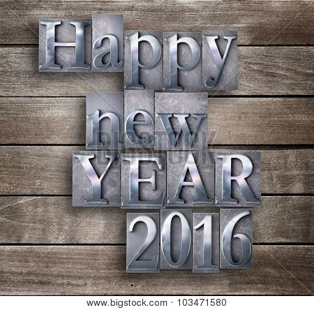 3D rendering of the words Happy New Year 2016 written in vintage typescript  on a wood board background