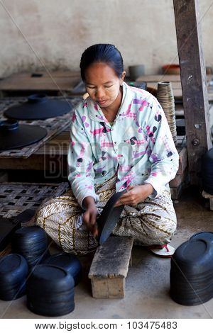 Burmese Woman Working In A Factory Of Lacquer