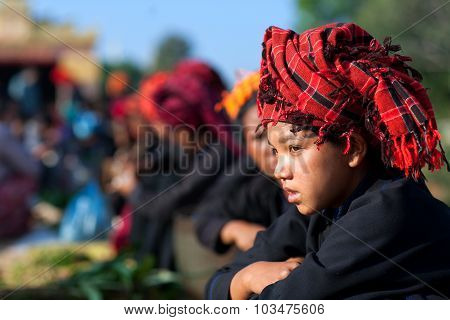 Pa-o tribal girl In Shan State, Myanmar
