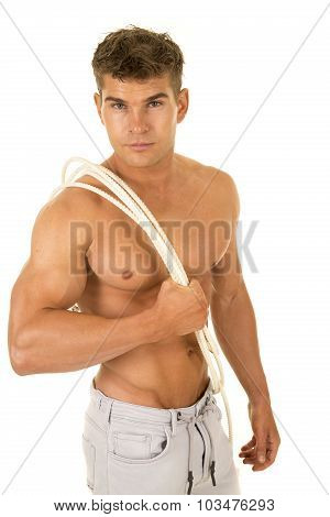 Shirtless Strong Man Rope Over Shoulder Stand Look