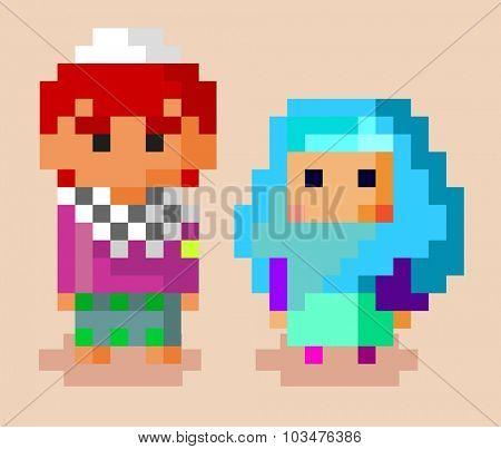 Moslem Family. Pixel vector illustration