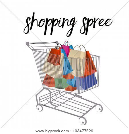Shopping cart filled with  shopping bags  poster