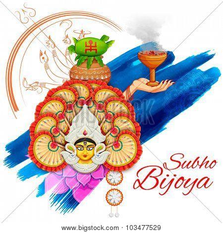 illustration of goddess Durga in Subho Bijoya (Happy Dussehra) background poster
