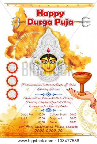 illustration of goddess Durga in Happy Durga Puja background