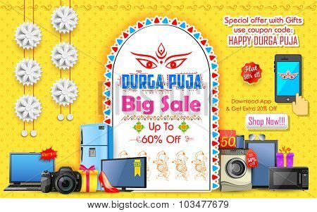 illustration of Durga Puja background for Offer promotions