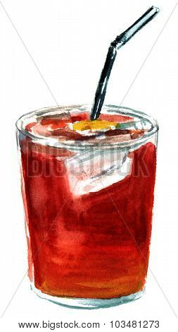Watercolour drawing of a tinto de verano with astraw and a slice of lemon