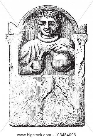 Drinks merchant, vintage engraved illustration.
