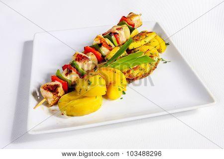 Grilled Chicken Skewer With Potato Garnish