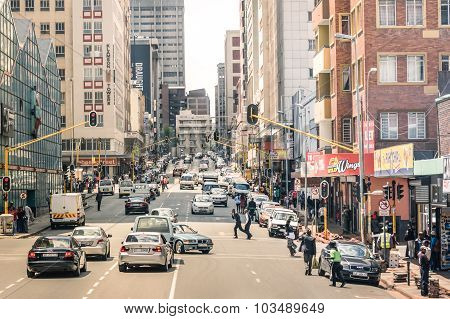 Johannesburg, South Africa - November 13, 2014: Rush Hour And Traffic Jam On Von Wiellig Street