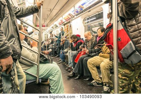 New York City - November 2, 2013: Mixed People In The Subway, Downtown Manhattan