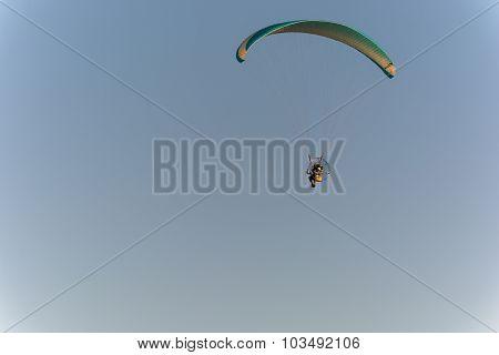 Powered Parachute In Flight.