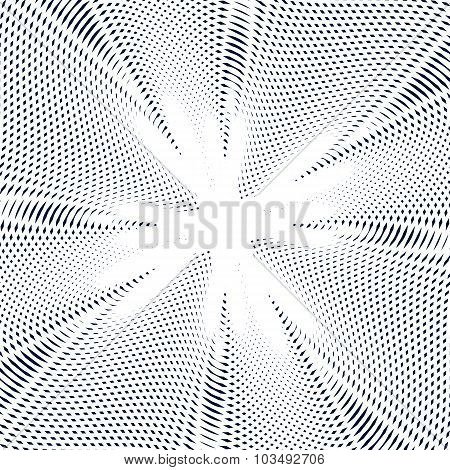 Illusive Background With Black Chaotic Lines, Moire Style. Contrast Geometric Trance Pattern, Optica