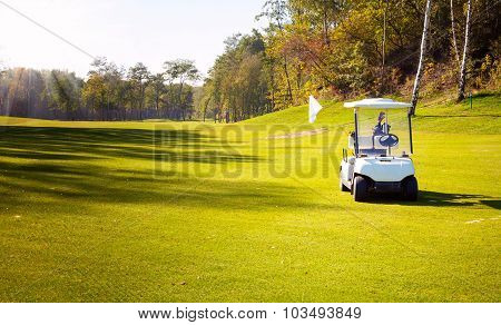 Golf-cart Car On Field Of Golf Course