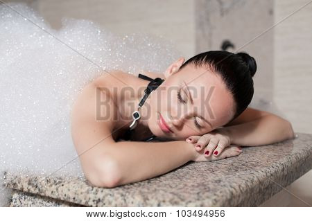 Young Woman Having Massage In Hamam.