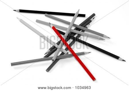 Black And White Pencils With One Red
