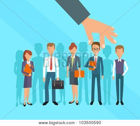 Business hand picking up a businessman. Human Resources concept