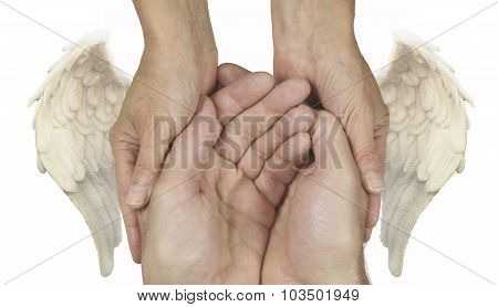 Symbolic Helping Hands with Angel Wings