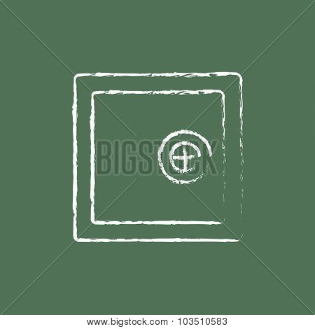 Safe hand drawn in chalk on a blackboard vector white icon isolated on a green background.