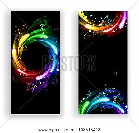 Two Banners With Rainbow Stars