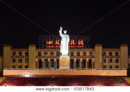 Statue Of Chairman Mao At Tianfu Square