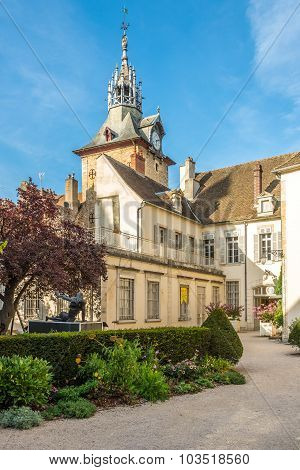 Museum Of Dali With Clock Tower In Beaune