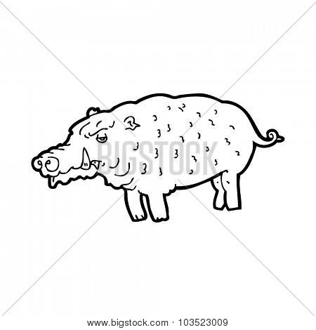 simple black and white line drawing cartoon  hog