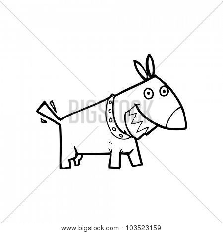 simple black and white line drawing cartoon  dog