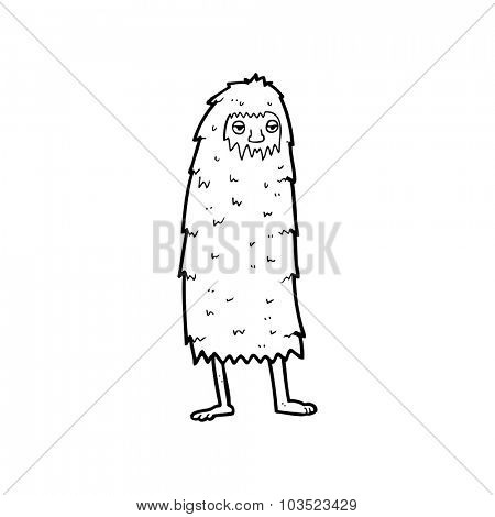 simple black and white line drawing cartoon  hairy monster man