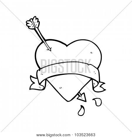 simple black and white line drawing cartoon  heart tattoo