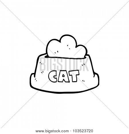 simple black and white line drawing cartoon cat food