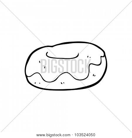 simple black and white line drawing cartoon  donut