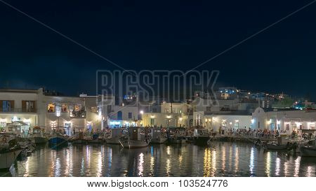 Paros, Greece, 08 August 2015. Naoussa nightlife at Paros island in Greece.