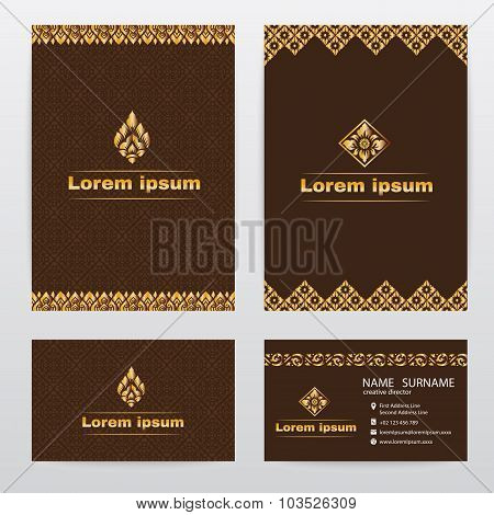 Thai traditional design ( Lai Thai pattern ) brown abstract background
