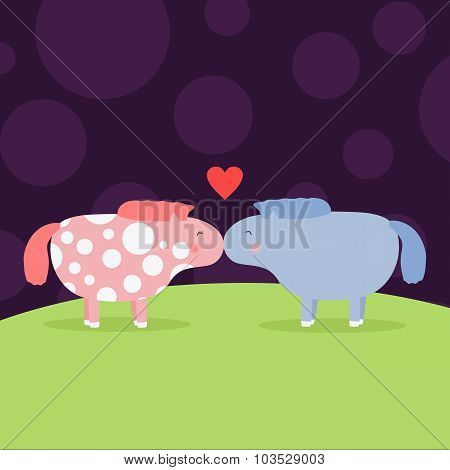 greeting card with cute pony