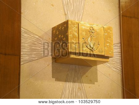 Precious Golden Tabernacle With Christian Symbols In The Catholic Church