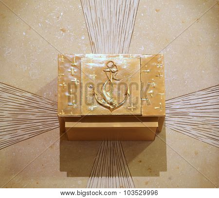 Precious Ancient Golden Tabernacle With Christian Symbols