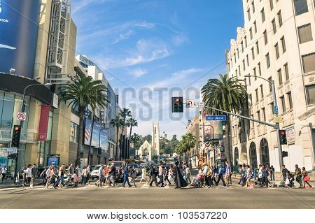 Los Angeles - March 21, 2015: Crowded Street With Multiracial People Walking On Hollywood Boulevard