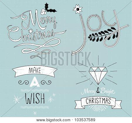 Collection of Christmas decor and typography: Merry Christmas, J