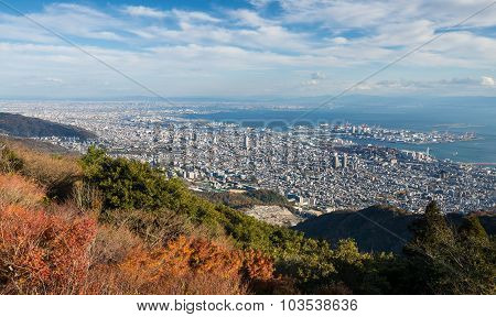 View Of Several Japanese Cities In The Kansai Region From Mt. Maya.
