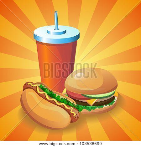 Fast food set: Hot dog, burger, cola.